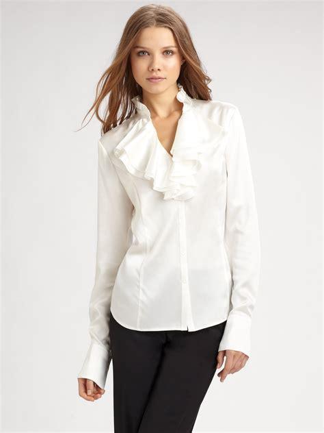 silk charmeuse blouse lafayette 148 york ruffled silk charmeuse blouse in