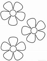 Flower Simple Coloring Colouring Pages Printable Flowers Clipart Para sketch template