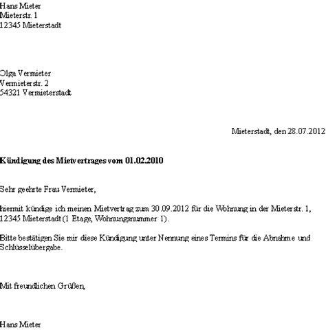 vorlage kündigung mietwohnung durch mieter k 252 ndigung mietvertrag