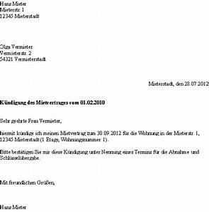 Kündigungsschreiben Wohnung Mieter : vorlage k ndigung mietvertrag dokument blogs ~ Lizthompson.info Haus und Dekorationen