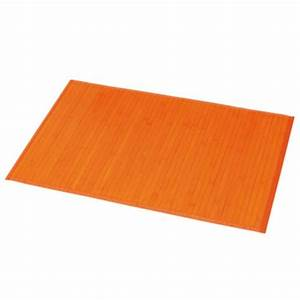 tapis de bain lattes bambou orange tapis salle de bain With tapis de bain orange
