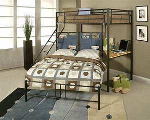 Winoma Black Metal Twin over Full Bunk Bed with Study Desk ...