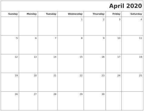 april printable blank calendar