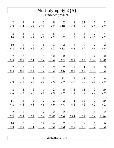 multiplication by 2 worksheets multiplying 1 to 12 by 2 a