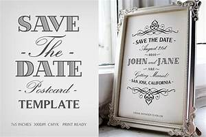 Save the date postcard template v1 invitation templates on creative market for Save the date postcard template free