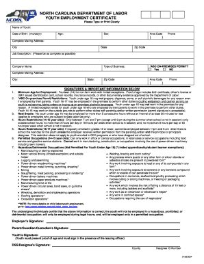 pa work permit form 2004 2018 form nc youth employment certificate fill online