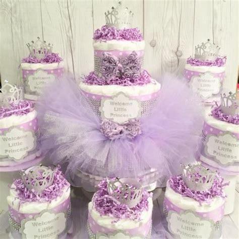 lavender  silver princess tutu diaper cake centerpiece