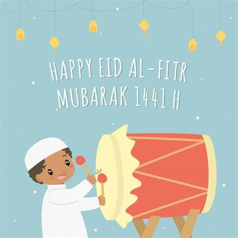 happy eid al fitr   card vector muslim african