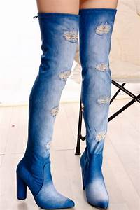 DENIM BLUE JEAN MATERIAL POINTED TOE THIGH HIGH CHUNKY HEEL BOOTSWomenu0026#39;s Boots-Sexy BootsHeel ...
