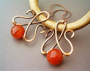 Wire Wrapped Earrings Hammered Copper and Agate by bleek70 ...