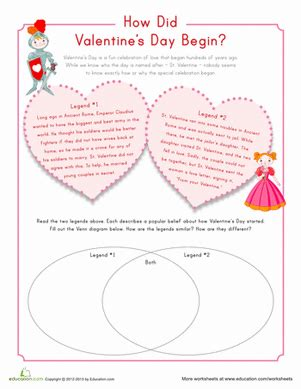 origin of valentine s day worksheet education
