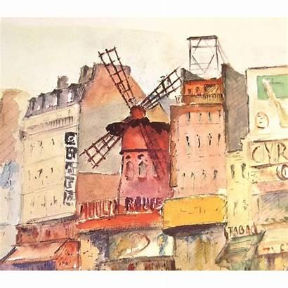 Paris French Montmartre 50s Signed Scene Shops