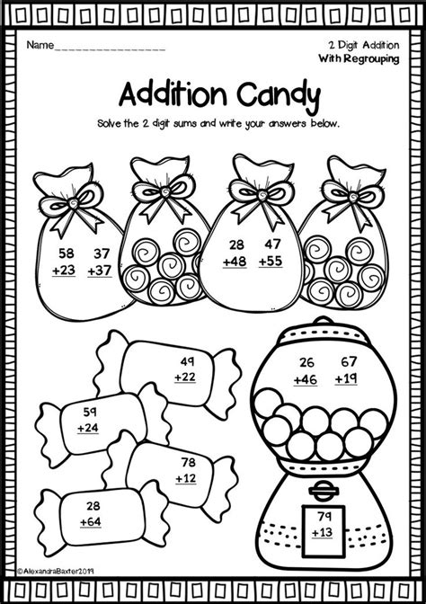 digit addition worksheets  regrouping fun math