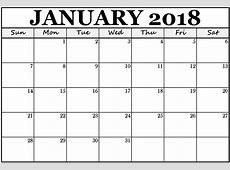 Print January 2018 Calendar