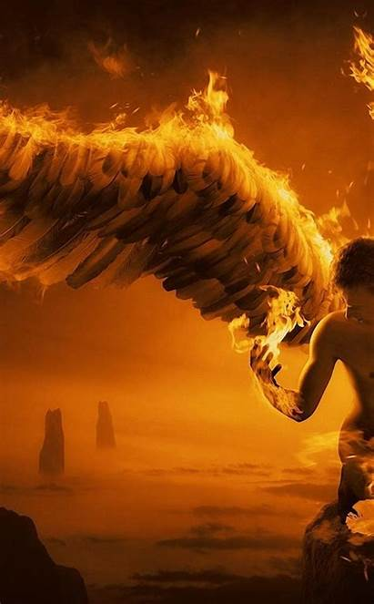 Wings Fire Angel Iphone Ipod Touch Wallpapers