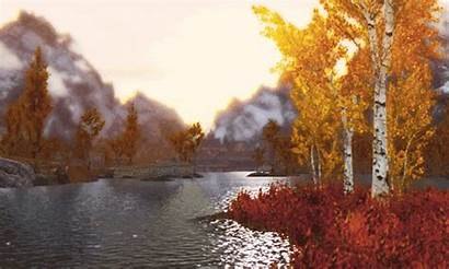 Autumn Fall Mountains Gifs Water Waters Animated
