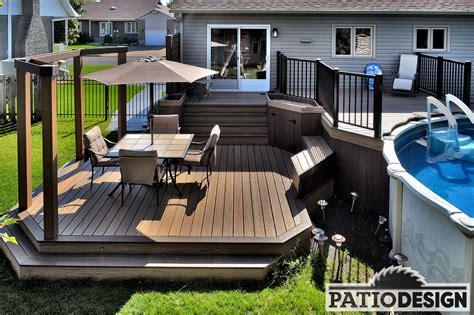 patio avec piscine hors terre exterieur amenagement