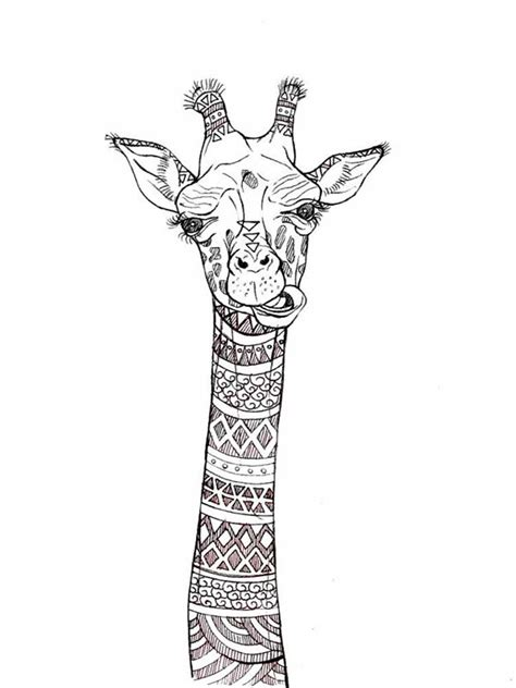 zentagle giraffe coloring pages  adults