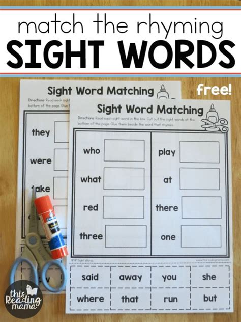 sight word worksheets match  rhyming word sight