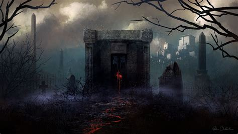 Wallpaper Graveyard by Graveyard On A Foggy Hd Wallpaper Background Image
