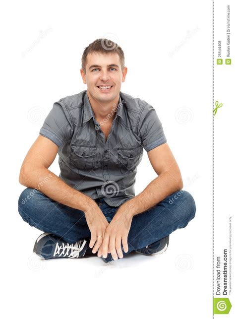 Casual Man Sitting In Lotus Position, Smiling Royalty Free