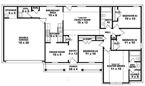 house with 4 bedrooms 4 bedroom one ranch house plans 5 bedroom 2