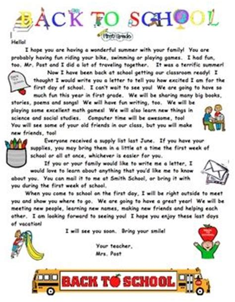 back to school letter from summer welcome letter for primary grades 20543
