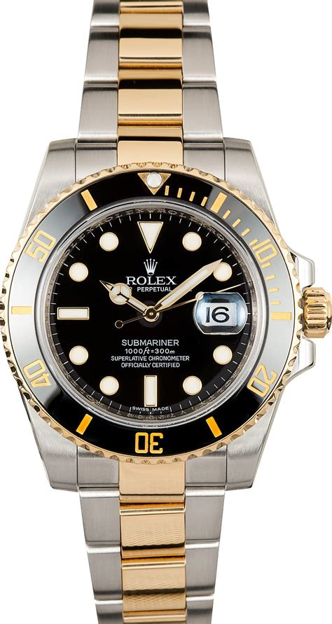 Rolex Submariner Two Tone Dial Gold Bezel 116613