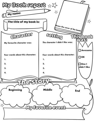 book report printable worksheet  printable