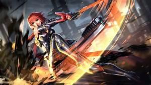 Download, 2304x1296, Anime, Girl, Fighting, Sci-fi, Sword, Bodysuit, Wallpapers