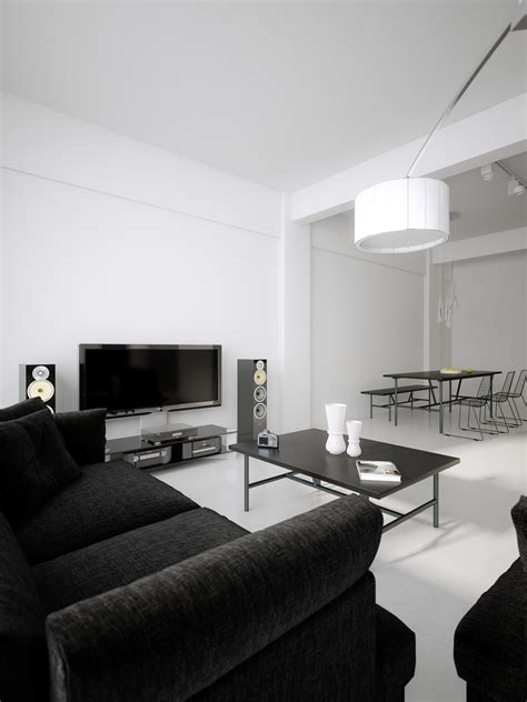 and black living room modern minimalist black and white lofts White