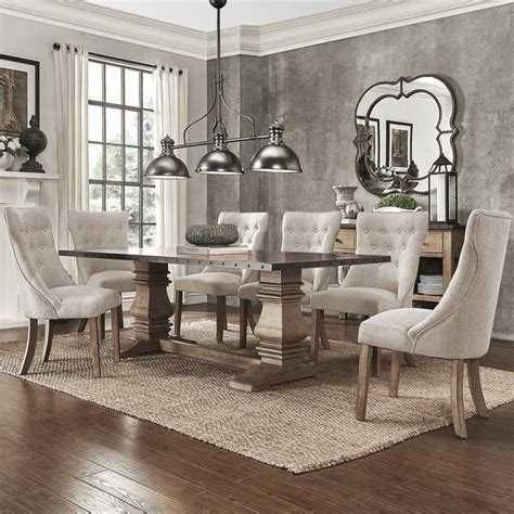 shop janelle extended rustic zinc dining set  tufted