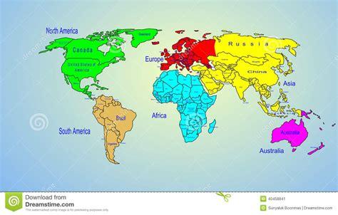 Namn för kontinenter och för land för världsfärgöversikt