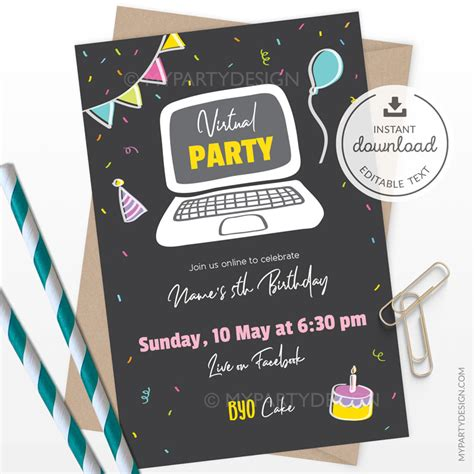 Virtual Party PRINTABLE Editable Invitation (vpA) My