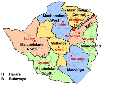 capital  zimbabwe map