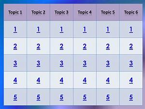 jeopardy template 6 topic With microsoft powerpoint jeopardy game template