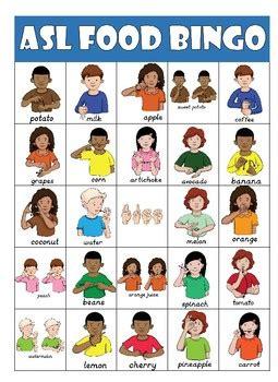 asl american sign language food bingo  handy teaching