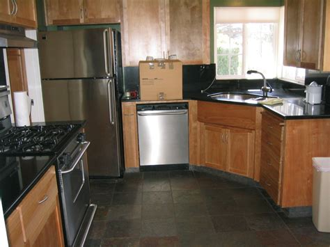 small kitchen makeover design with black pearl granite
