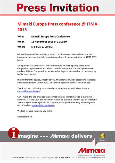 Conference Press Release Template by Sle Invitation Letter Media Press Conference Image