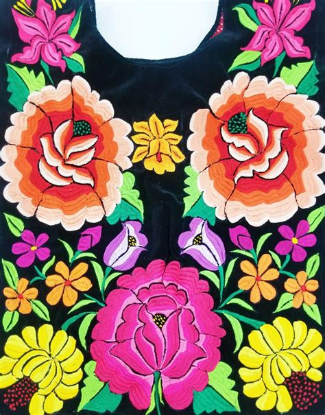 Embroidered Mexican Blouse Velvet Floral Traditional ...