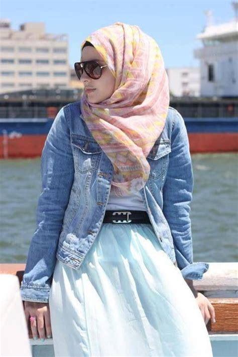 casual hijab style jean jacket   super long dress