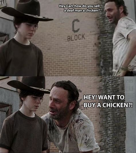 Carl Rick Meme - 35 of the best walking dead carl meme coral dad jokes