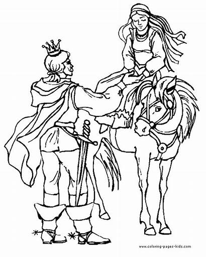 Coloring Princess Pages Medieval Queens Drawing Fantasy