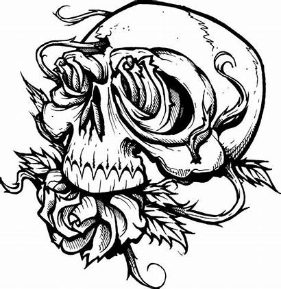 Coloring Scary Pages Skull Roses Creepy Printable