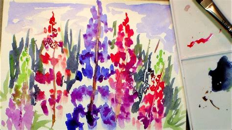How To Paint Lupine Flowers In Watercolor (full Tutorial