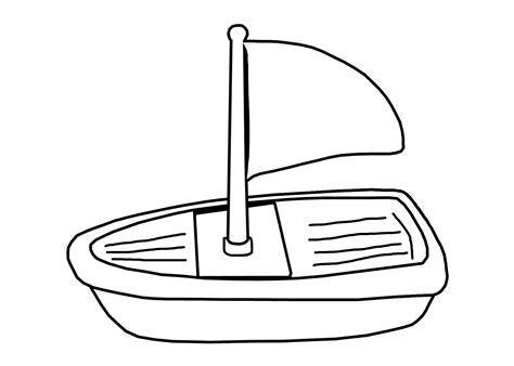 Toy Boat Outline by Toy Boat Clipart Black And White