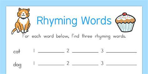 Rhyming Words Worksheet  Rhyme, Rhyming, Worksheet, Words