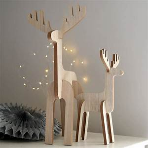 Wooden, Standing, Reindeer, Decoration, By, Red, Lilly