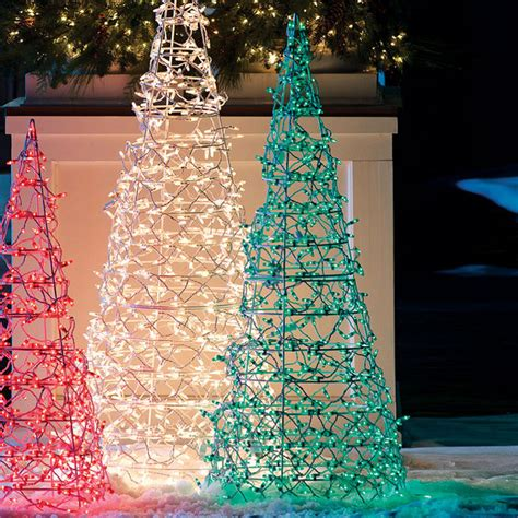 green lighted cone tree frontgate christmas lights