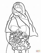 Groom Bride Coloring Pages Bouquet Printable Drawing Clipart Barbie Skeleton Getdrawings Clip sketch template